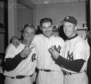 HANK BAUER, TOM STURDIVANT, MICKEY MANTLE