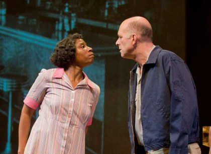 "AISHA HINDS as Ann Atwater and JOHN BEDFORD LLOYD as C.P. Ellis in Mark St. Germain's play, ""The Best of Enemies"""