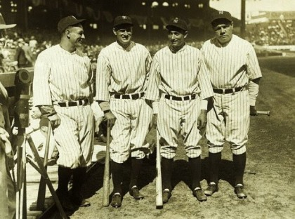 LOU GEHRIG, EARL COMBS, TONY LAZZERI, and BABE RUTH