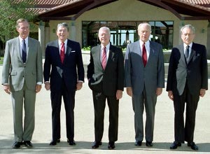 Former Presidents Bush, Reagan, Carter, Ford, and Nixon.