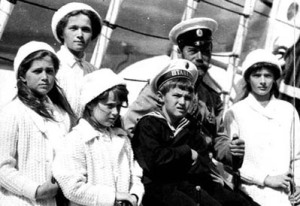 NICHOLAS and his children aboard the royal yacht Standardt.