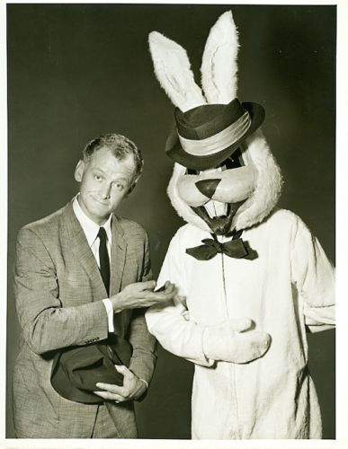 "ART CARNEY in a deceptive publicity shot for the DuPont Show of the Month presentation of ""Harvey."" The rabbit does not appear in the program."