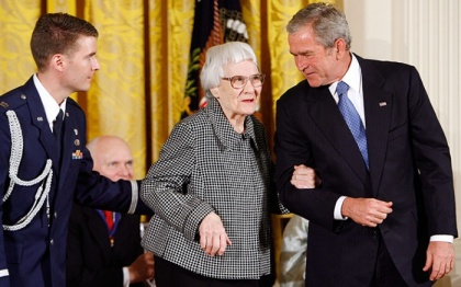 HARPER LEE with President GEORGE W. BUSH when he presented her with the Presidential Medal of Freedom.