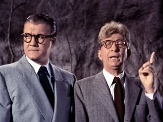 "GEORGE REEVES and STERLING HOLLOWAY in an episode of the TV series ""The Amazing Adventures of Superman."""